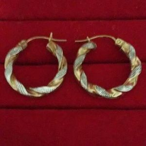 Jewelry - 14k Two Tone Hoop Earrings